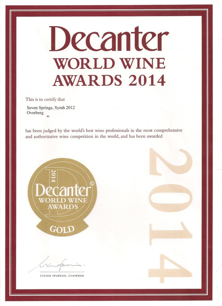 Decanter gold Syrah 2012 001